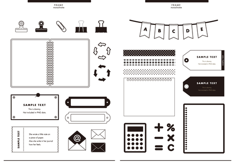Notepad frame · stationery set monochrome