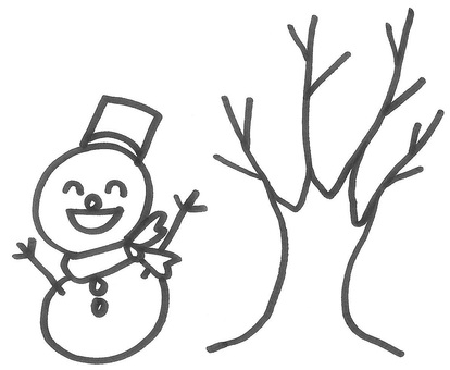 Winter snowman and dead tree winter