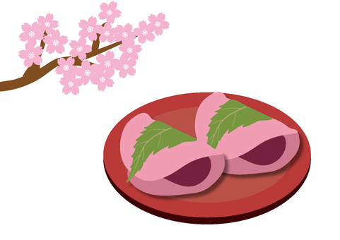 Sakura mochi and cherry