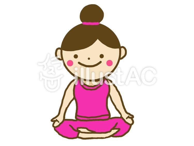 ヨガのポーズをとる女性 瞑想イラスト No 1046853無料イラストなら