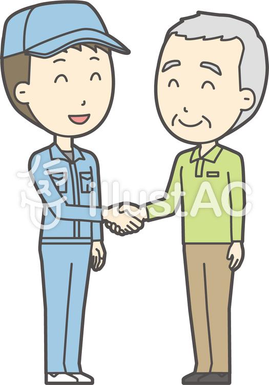 老人男性握手-018-全身のイラスト