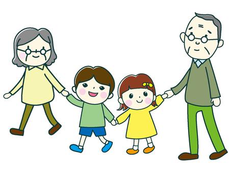조부모와 손자 산책