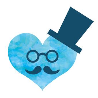 人物父の日ハートアイコン水彩眼鏡口髭帽子