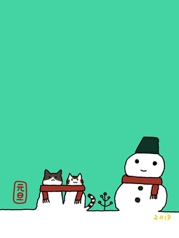 고양이와 눈사람