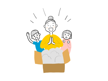 Parents and children enjoying a home delivery service