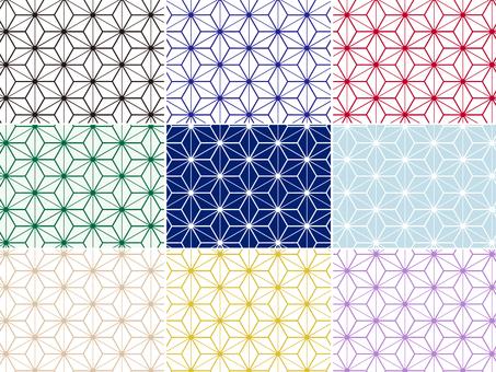 ai Japanese Pattern Hemp Leaf Background 9 Set