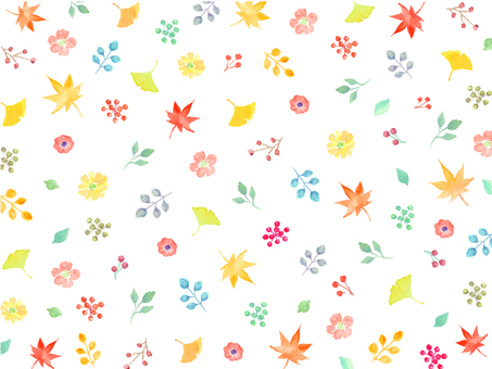 Hand drawn watercolor autumn flowers and leaves Background wallpaper