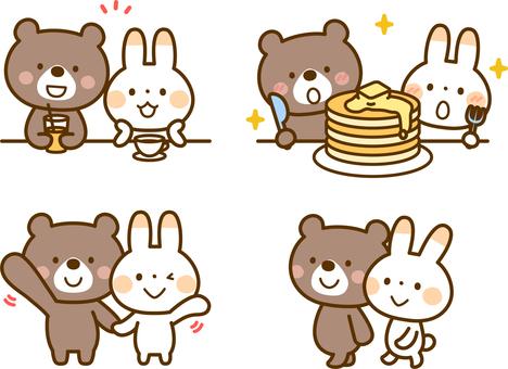 友善的熊和兔子