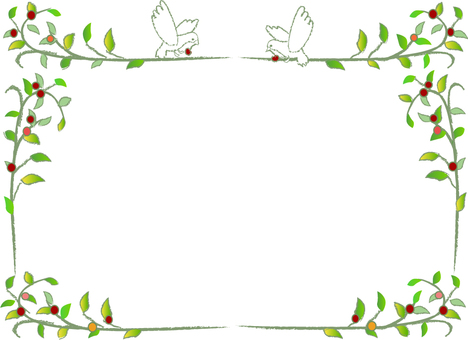 Leaf and bird decorative frame green leaf