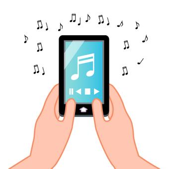 스마트 폰에서 음악을 듣고 이미지 (블루 계열)