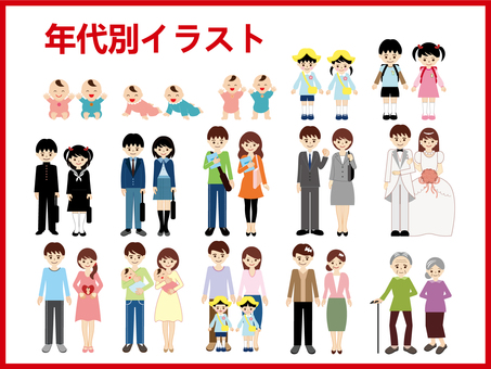 People's lifetime (by age) illustration set