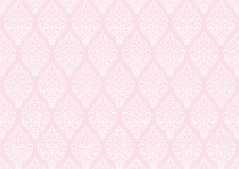 ピンク色ダマスク柄のシンプルパターン背景