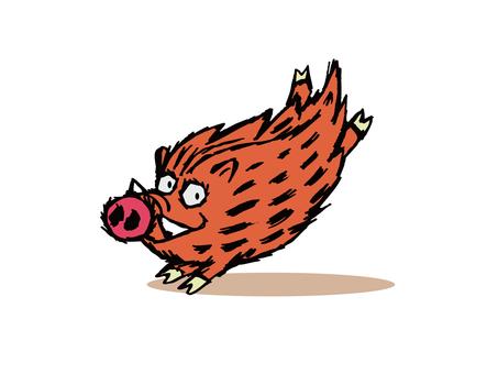 Wild Boar, New Year's Card