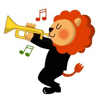 Lion blowing trumpet