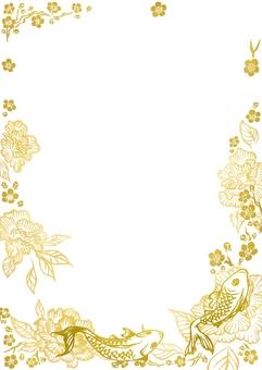 鯉と花柄イラスト(金色)