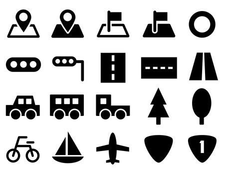 Transportation icon set (car, airplane, ship, etc.)