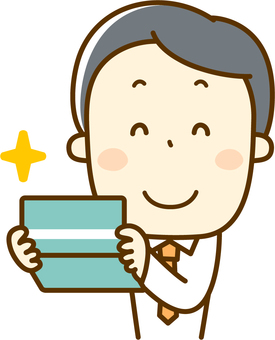 A salaryman who is happy to see passbooks
