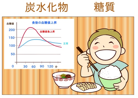 Elevated blood glucose level meal and graph