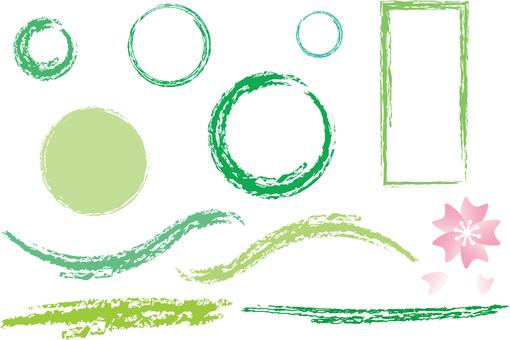 Sakura and green frame