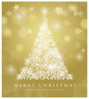 Glittering Christmas tree golden