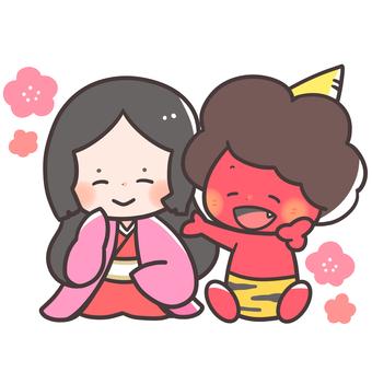 Setsubun Fortune god and demon