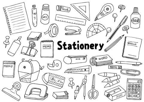 Stationery illustration set (outline)