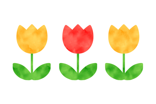 Row of tulips (watercolor style)