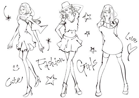 Illustrations of women enjoying fashion