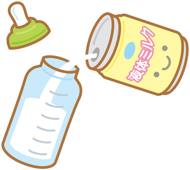 Pour liquid milk into a baby bottle (canned)