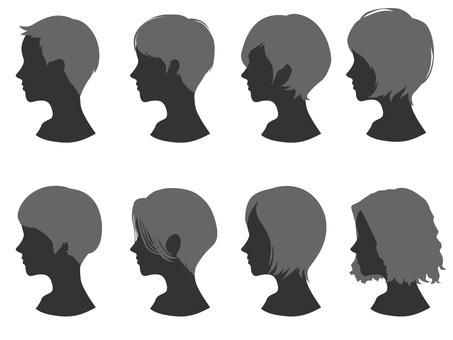 Female head silhouette hair style 1