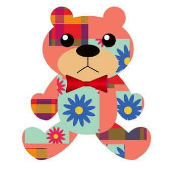 Patchwork style bear's stuffed doll