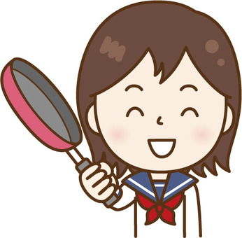 A woman with a smiley sailor suit in cooking White