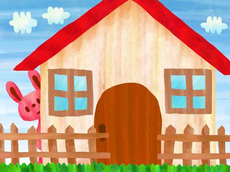 집 + 하늘 + 토끼