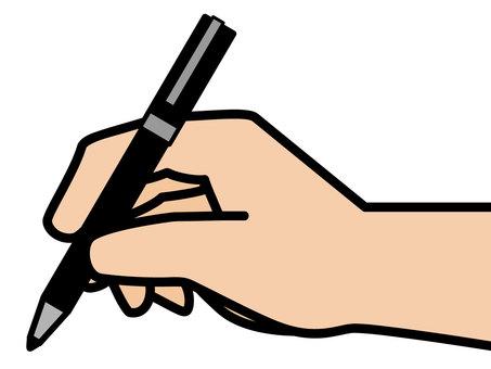 拿著一支筆的手