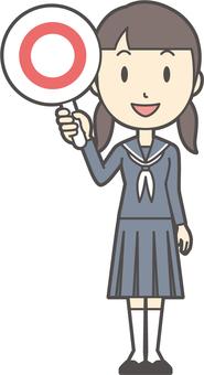 Junior high school sailor woman -123-whole body
