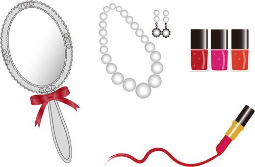 Lipstick nail polish hand mirror pearl
