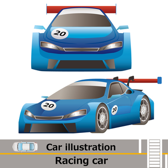 Car front and side set racing car