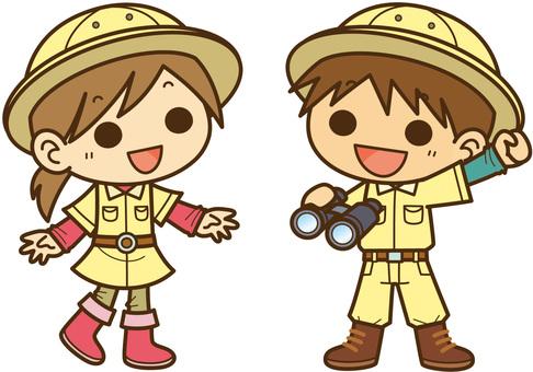 子ども探検隊:男の子と女の子