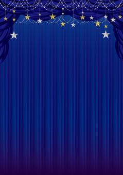 Blue curtain frame with stars