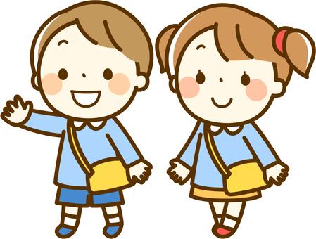 男孩和女孩去上學