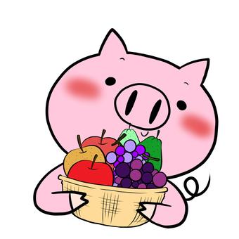과일 바구니와 돼지