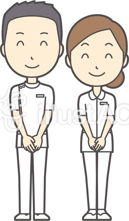 男女セット看護師-014-全身のイラスト