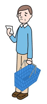 Shopping cartoon Middle-aged man