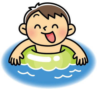Little boy playing in the pool with hikiwa