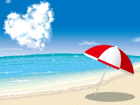 Sandy beach, umbrella and heart cloud