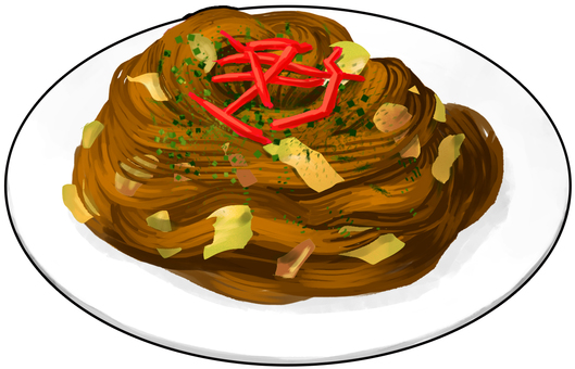 Fried noodle with outline