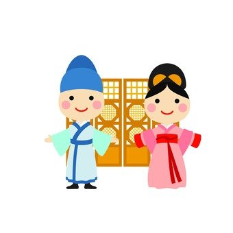 Male and female Hanbok 3 (with background)
