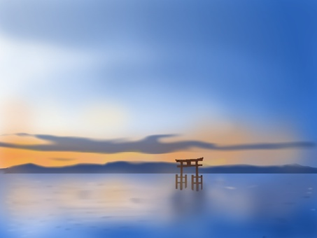 Torii that floats on the surface of the water