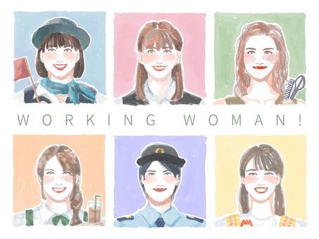 水彩風格的臉圖標設置3的職業女性