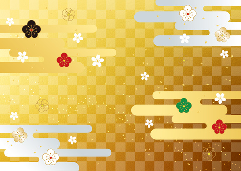 New Year _ plum _ lattice _ gold background